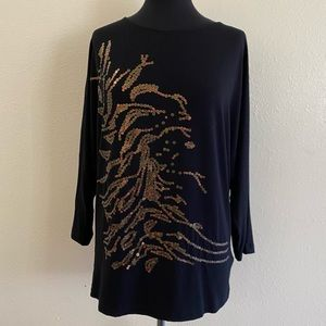 CAbi Cherie Black Blouse With sequin detailing